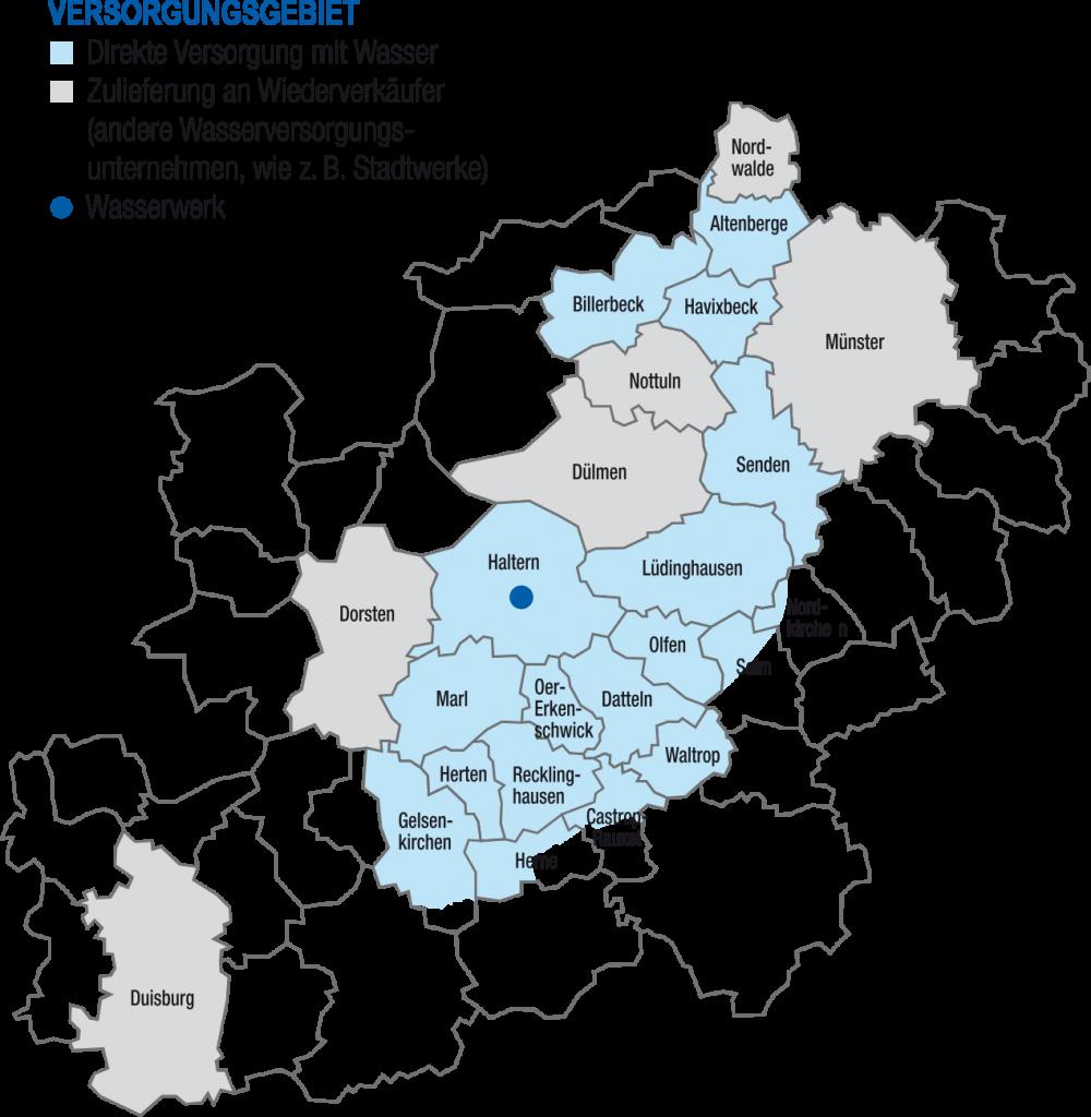 Das Versorgungsgebiet des Wasserwerk Haltern