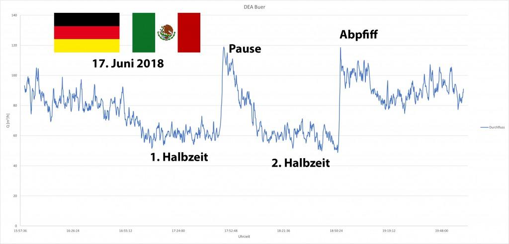 Wasserabgabe Gelsenwasser beim Spiel Deutschland gegen Mexico, Fußball-WM 2018
