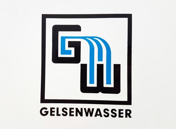 Geschichte: Das alte Gelsenwasser-Logo vor 1973. Die Farbe blau ist schon dabei.