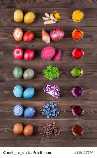 ANleitung Ostereier natürlich färben mit Gemüse und Gewürzen