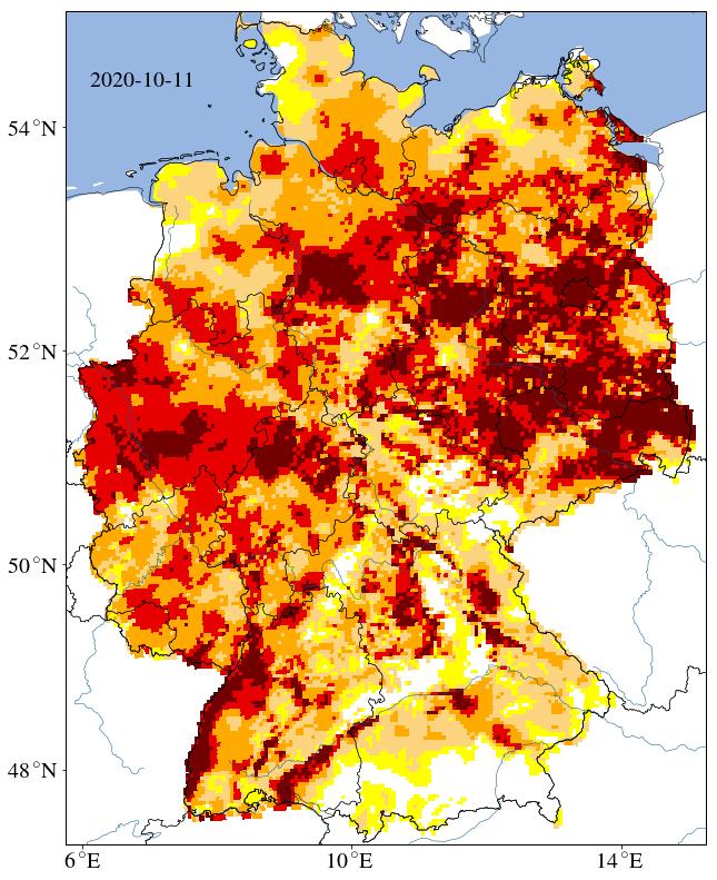 Der Dürre-Minitor zeigt den Zustand der Böden nach dem Sommer 2020: Dunkelrot und rot gefärbte Regionen sind besonders stark betroffen von der Trockenheit. © UFZ-Dürremonitor/ Helmholtz-Zentrum für Umweltforschung.