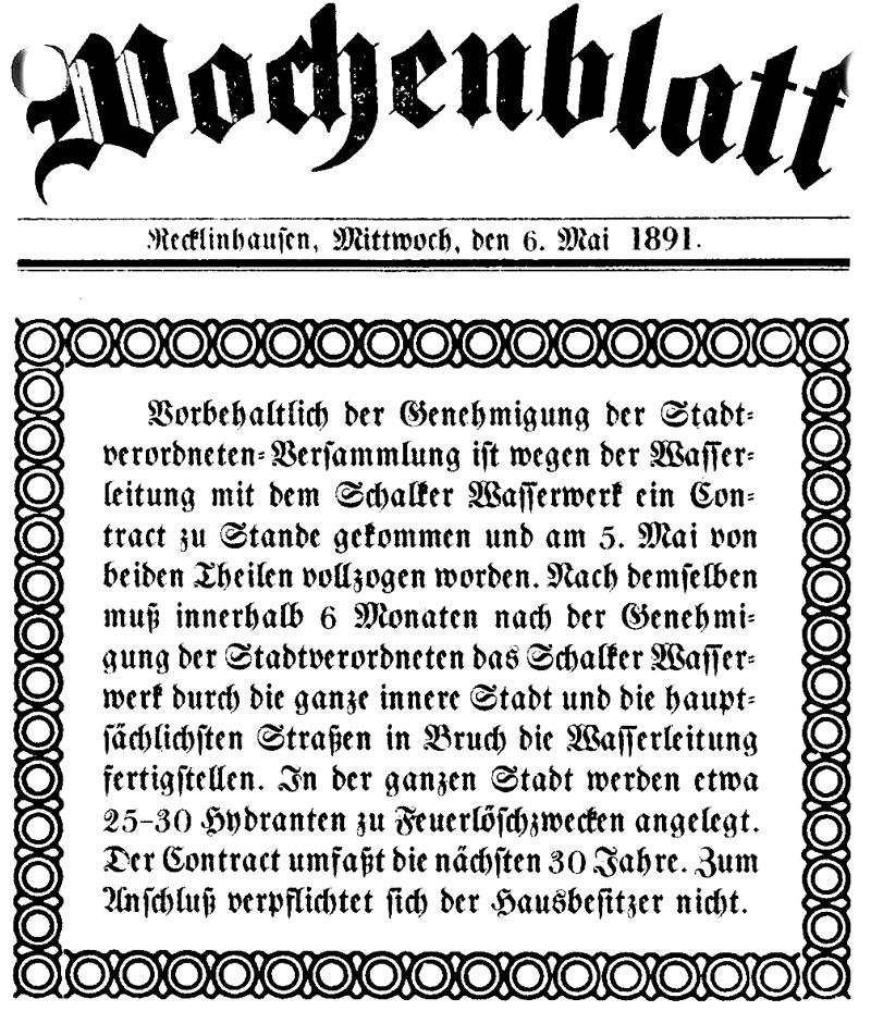 Wochenblatt-Hinweis auf den Vertragsabschluss zwischen Recklinghausen und Gelsenwasser, am 6. Mai 1891.